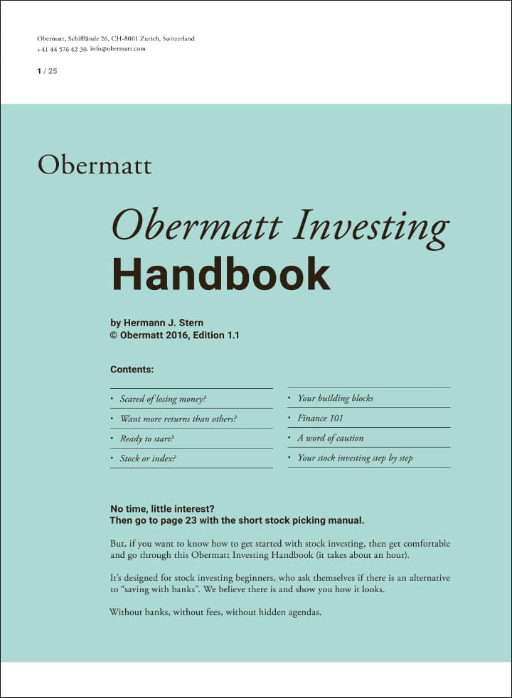 First page of Obermatt Investing Handbook