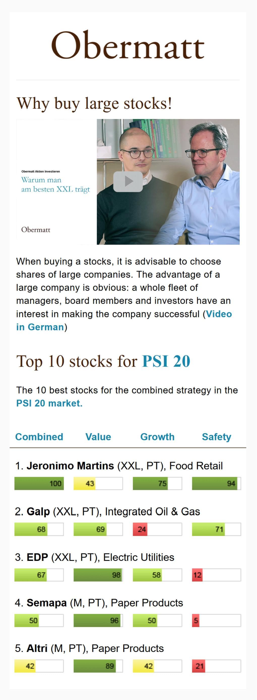 Sample Obermatt Top 10 Stock Alert